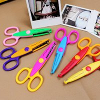 Wholesale Creative home office supplies DIY handmade lace scissors DIY album lace scissors scissors cartoon photo card pattern lace scissors cheap who