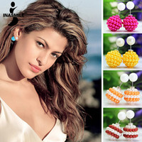 Wholesale New pieces Pairs X Celebrity Runway Double Pearl stud earrings resin beads earrings for women Ball Plug Earrings Ear Studs Pin