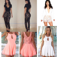 Long sexy lace bodysuit - Newest Sexy Women s Lace Jumpsuits Bodycon Bodysuit Black White Pink Floral Culottes Jacquard Bodywear Illusion Outfits Party Club Wear M168