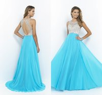 blue prom dresses - Sexy Vintage Cheap Prom Dresses Pageant Dress Evening Party Gowns Mint Royal Blue Chiffon Beading Long Floor Length Sheer Backless