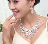 Wholesale 2013 new Crystal Rhines crystal sets of chains Bride chain sets married necklace earrings wedding Jewelry Sets accessories set