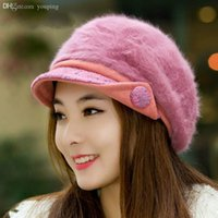 Wholesale New Arrival Fashion Soft Delicate Rabbit Hair Blended Hats for Women Upset To Keep Warm Newsboy Hat T241