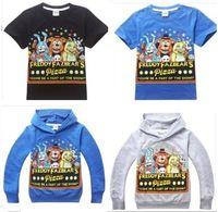 Summer cotton night shirt - Boys Cartoon T shirts Children Casual Blue Gray Black Five Nights at Freddy s Bear Short Long Sleeve O neck Hooded Tops I4361