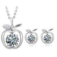 best earring material - 18K Silver Plated Zircon Apple Necklace and Earrings Sets Coppear Material Fashion Jewelry Set For Women Best Jewelry