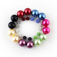 Wholesale New Arrival Fashion Round Shape Imitation Pearl and Rhinestone Jewelry Candy Color Stud Earrings For Women