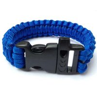 Wholesale Mixed all colors New paracord survival bracelet buckle with whistle outdoor camping survival equipment