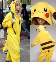 Wholesale China Cheap In Stock Hot Sale Lovers Pikachu Pajamas Adult Anime Cosplay Costume Unisex Onesie Sleepwear S M L XL VT