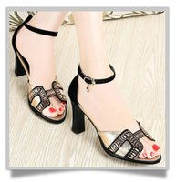 Cheap discount Ladies shoes Chunky heel Sandals buckle Shoes Sexy Stiletto Sandals lady size Summer cut outs Sandals cheap price nice shoes