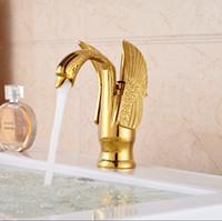 bathroom vessel faucet - Elegant Swan Shape Brass Gold Finish Bathroom Mixer Taps Deck Mount Basin Vessel Faucet