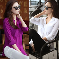 Wholesale New Fashion Women Long Sleeve Chiffon Shirt Casual Loose Pocket Blouse polo shirt Purple white