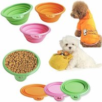 Wholesale Portable Pet Dog Cat Floding Silicone Collapsible Feeding Feed Water Feeders Foldable Travel Food Bowls Dish colors Frisbee
