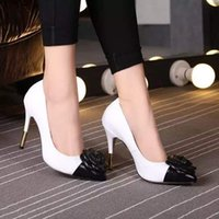 big kitten - 2016 camellia womens black white CC sandals woman high heels shoes genuine leather fashion shoes big size