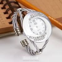 antique metal clock - Rhinestone Whirlwind Design Metal Weave Clock female Dress Women Girls Bracelet Bangle Watch Wristwatch Siver Relogio feminino