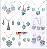 women earrings lot - mix order sets a Tibetan silver turquoise necklace pandent earring set antique silver jewelry set for women DFMGS D