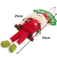 beard boards - 1PCS Wooden Frame Hanging Santa Claus Doll Merry Christmas Paper Board Decorations White Beard Ornaments Gift Enclosed Red String