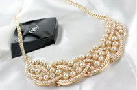 Women's pearl choker necklace - Hot Fashion New Elegant Imitation Pearl Hollowed Golden Choker Bib Collar Necklace k3407