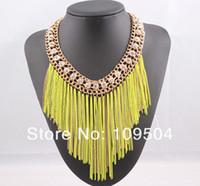 Wholesale 2013 New Fashion SUPER Chain Tassel Necklace Rhinestone Crystal Bib Collar Statement Necklaces ZN06