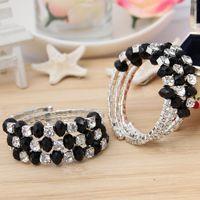 crystal stretch bracelet - 2015 Brand New Women Infinity Bracelets Stylish Jewelry Crystal Rhinestone Lines Stretch Tennis Bracelets Bangles GUH
