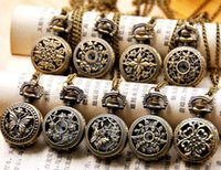 Wholesale 2016 hot selling mix style Antique Pocket watch with chain Necklace Classic Pocket Watches