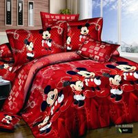 Wholesale red mickey and minnie mouse bedding set queen King adults double bed size Comforter Duvet Quilt cover bed Linen sheets Cotton