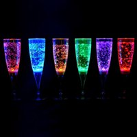 Table Centerpieces champagne flutes - 6 CM Liquid active Plastic LED Champagne flutes light up LED Flash Champagne cup soft Drink Cup For Wedding table Centerpieces