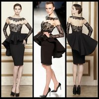 Cheap Little Black Dress Sexy Lace Cocktail Dresses Short Sheer Neck Tight And Cute Long Sleeve Evening Dresses with Applique Mermaid Style