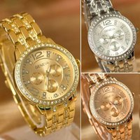 Wholesale New Arrivals GENEVA Women ladies luxury Gold Dial Steel Belt Fashion Casual Gift Wrist Watches Silver analog stainless With