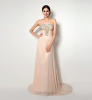 art busts - Elegant Real Long Evening Gowns With Sequin Beading Bust Pleats Draped Chiffon Women Formal Dresses Evening Wear Cheap Prom Party Dress