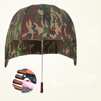 umbrella hat - 2016 Hot Hat shape Sun visors Umbrella Outdoor shade Semi automatic long handle Beach umbrellas Uv Protection camouflage umbrella beuty gift