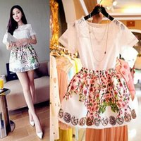 embroidery lace - Beautiful Girls Summer Suits Summer and Spring Korean Organza Lace Embroidery Chiffon Shirt Peach Tutu Skirts Printing Two Piece Sets