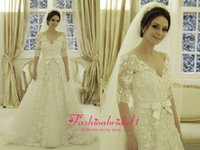Wholesale Charming white full lace bridal gowns half sleeves v neck beautiful court train bowknot satin sash A line wedding dresses BO1909