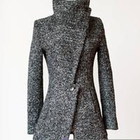 asymmetric button coat - New Women Warm Wool Winter Coat Long Trench Jacket Parka Outwear Windbreaker Top