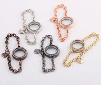 Wholesale Floating Glass Locket Bracelet mm Round CZ Crystal Living Memory Charm Lockets Colors Extra Charms