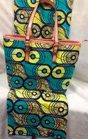 Wholesale Yards Wax Fabric amp Handbag Set Teal Super Wax Prints Fabric Cotton Plus PU Leather Women Handbad For African Fashion
