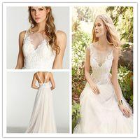 adora wedding dress - 2015 Ti Adora Lace Wedding Dresses Sleeveless A Line Ivory Sheer Neck Jewel Appliques Ruched Backless Beach Boho Bohemian Wedding Gowns