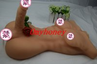 Wholesale 2015 luxury silicon life size sex dolls d half body solid love dolls for women with big dildo penis dongs sex toys ML13