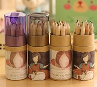 Wholesale NEW color box boxes Lovely colors Pencils set Lovely Girl Pencil Sharpener Set
