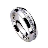 Wholesale HOT Factory Price Fashion Stainless Steel Crystal Wedding Rings For Women Men Top Quality Men s Ring