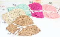 folding straw hat - 2015 Summer Silk Ribbon Baby Girls Straw Sun Hats Kids Floppy Beach Hat Children Collapsible folding sun hat in stock