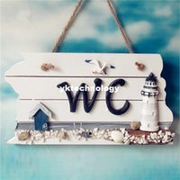 acrylic plaques - Mediterranean Style Nordic Wooden WC Shingle Doorplate Plaque Sign WC Decoration Accessories Wood Craft