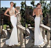 Cheap Gold and White Tarik Ediz Dresses Evening Dresses 2015 Halter Neck Sequin Beadings Chiffon Sheath Evening Dresses Backless Dresses Gowns