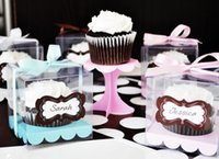 Wholesale Single Clear Plastic Cupcake Boxes Cake Boxes with colors sticker insert More Colors