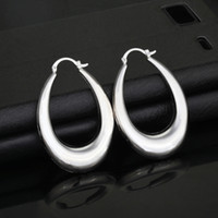 Wholesale Brand Earrings For Women Fashion Jewelry Gift Trendy Colors Platinum K Real Gold Plated Oval Hoop Earrings