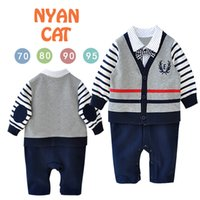 Wholesale autumn and spring Baby Boys Infants Children s clothing One piece Long sleeve college Tie Romper size