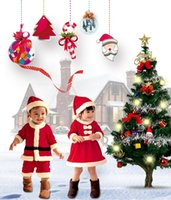 Wholesale New Year Winter Baby Santa Claus Christmas Costumes Hat skirt For Girls Kids Chlidren Performing Role play clothes