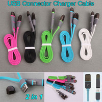 Wholesale 2in1 Micro USB Sync Data Cable Connector Charging Wire M Flat Noodle USB Charger Cord Adapter For Samsung Galaxy S6 S5 S4 Note Huawei HTC