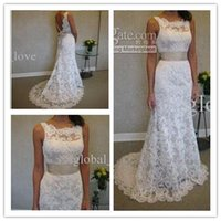wedding gowns - 2015 Bateau White Lace Wedding Dress With Belt A Line Beach Wedding gowns Backless bowknot Court Train wedding dresses