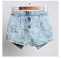acid washed skirt - Summer Pom Pom Shorts Ladies Denim Skorts Shorts Skirts Acid Wash Criss Cross Zipper Skinny Jeans Denim Faded Hot Shorts