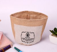 attached storage - zakka linen storage box containing cylinder attached jute handicrafts Desk Organizers barrel finishing debris