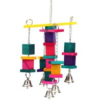 Wholesale Wooden Bird Parrot Cockatiel Swing Climbing Toys Colorful Cage Cube Blocks Bell Bird Sports Supplies